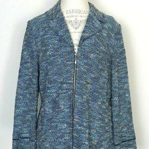 St John Collection Blue Tweed Zippered Blazer Suit
